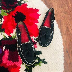 Sperry Black & Animal Print Fringe Boat Shoes